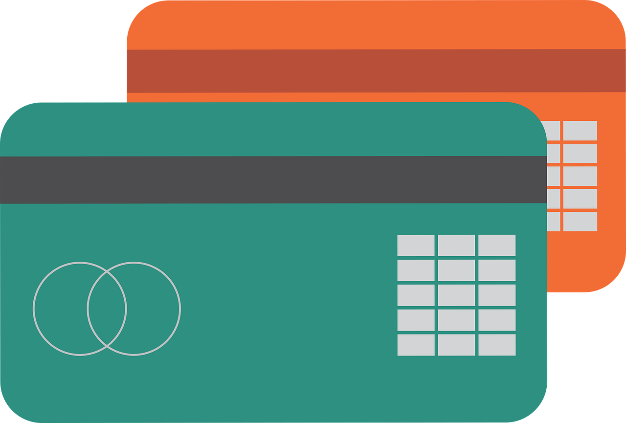 Drawings of two blank credit cards with the embedded chip.