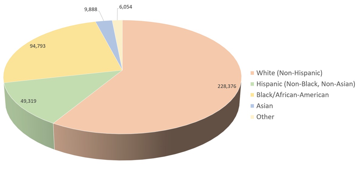 Pie chart of the population of the Beaumont-Port Arthur, TX Metro Area, categorized by race/ethnicity for 2012.