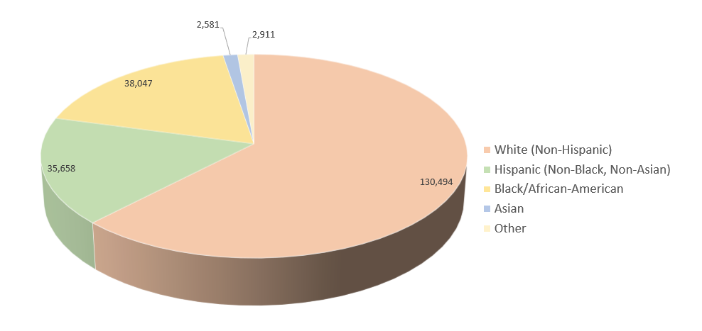 Pie chart of the population of the Tyler, TX Metro Area, categorized by race/ethnicity for 2012.