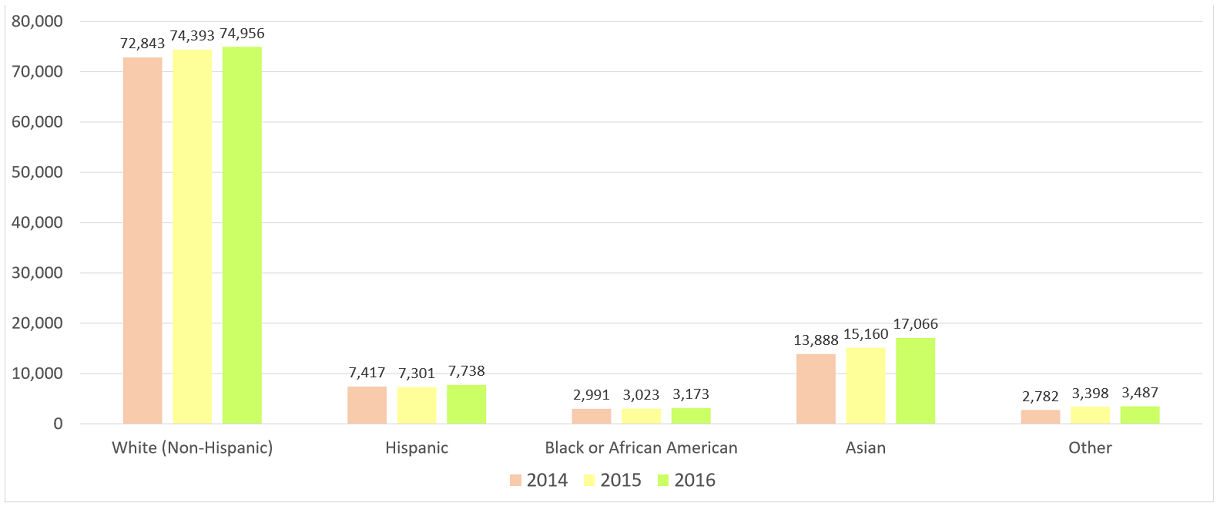 Dallas/Fort Worth/Arlington,TX MSA Businesses with Paid Employees Clustered Bar Charts by Race/Ethnicity for 2014, 2015, and 2016.