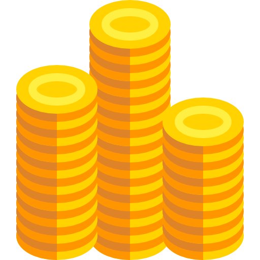 Illustration of three stacks of gold coins.