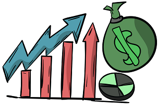 Illustration of bar chart with green money bag.